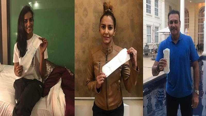 Sports stars join PadMan Challenge: PV Sindhu, Geeta Phogat, Ravi Shastri poses with sanitary pad