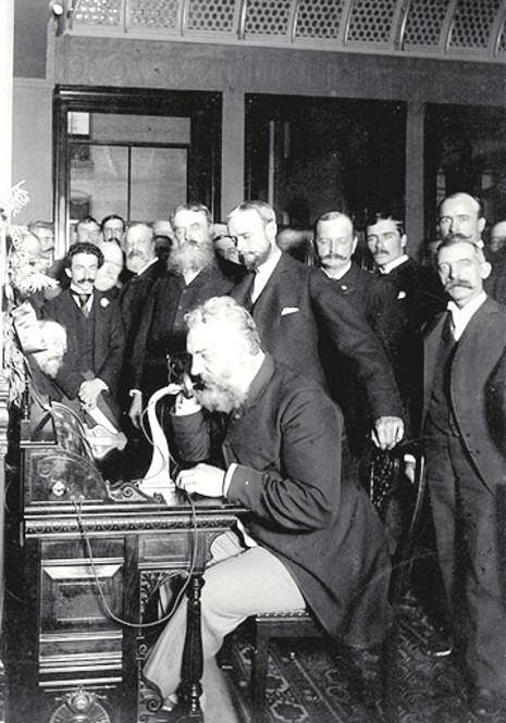 Bell with his telephone