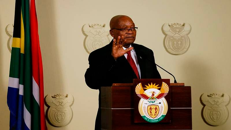 President of South Africa Jacob Zuma addresses the nation at the Union Buildings in Pretoria on February 14, 2018.