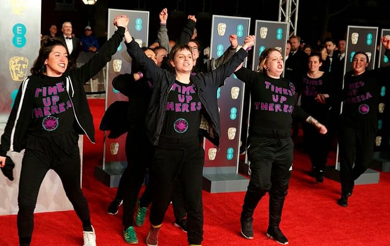 Female protesters crash BAFTA 2018 red carpet