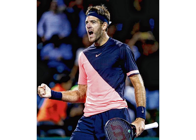 KEY BISCAYNE, FL - MARCH 28: Juan Martin Del Potro of Argentina celebrates after defeating Milos Raonic of Canada in the quarterfinal match on Day 10 of the Miami Open Presented by Itau at Crandon Park Tennis Center on March 28, 2018 in Key Biscayne, Florida.   Michael Reaves/Getty Images/AFP == FOR NEWSPAPERS, INTERNET, TELCOS & TELEVISION USE ONLY ==