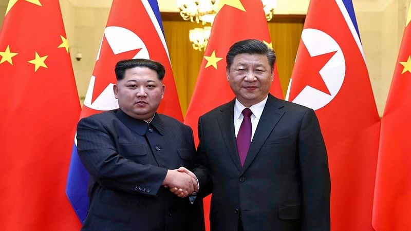 China's President Xi Jinping with Supreme Leader of North Korea Kim Jong-Un