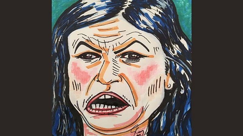 Jim Carrey's artwork resembling Sarah Huckabee Sanders sparks row