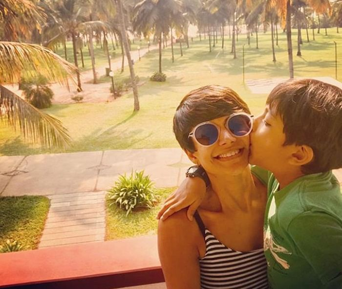 Mandira Bedi shares some adorable pictures with her son from Goa