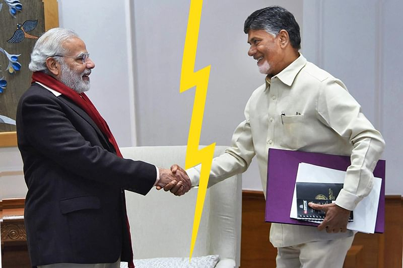 New Delhi: **FILE** In this file photo Prime Minister Narendra Modi is seen with TDP President and Andhra Pradesh Chief Minister N Chandrababu Naidu in New Delhi on Friday, Jan 12, 2018. Two Telugu Desam Party (TDP ) ministers on Thursday resigned from the Central government over the party's demand of special category status to the state of Andhra Pradesh. PTI Photo  (PTI3_8_2018_000204B)