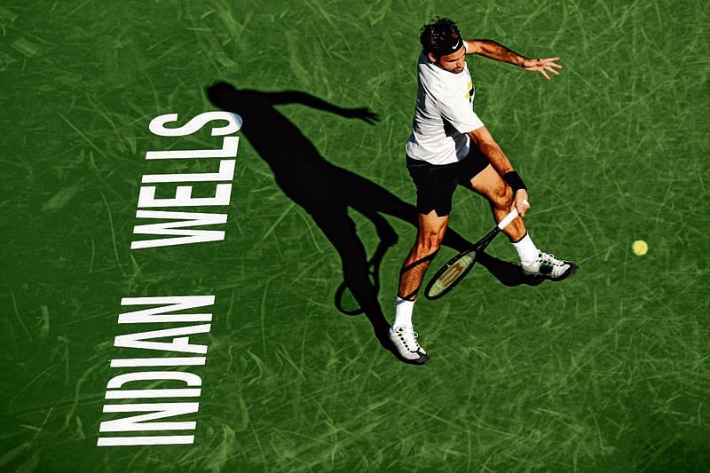 INDIAN WELLS, CA - MARCH 14: Roger Federer returns a shot to Jeremy Chardy of France during the BNP Paribas Open at the Indian Wells Tennis Garden on March 14, 2018 in Indian Wells, California.   Matthew Stockman/Getty Images/AFP == FOR NEWSPAPERS, INTERNET, TELCOS & TELEVISION USE ONLY ==