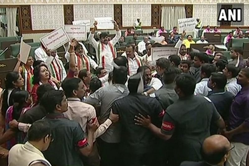 Two Telangana Congress MLAs disqualified for unruly behaviour