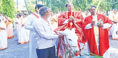 Indore: Unique Palm Sunday procession led by priest on donkey surprises many