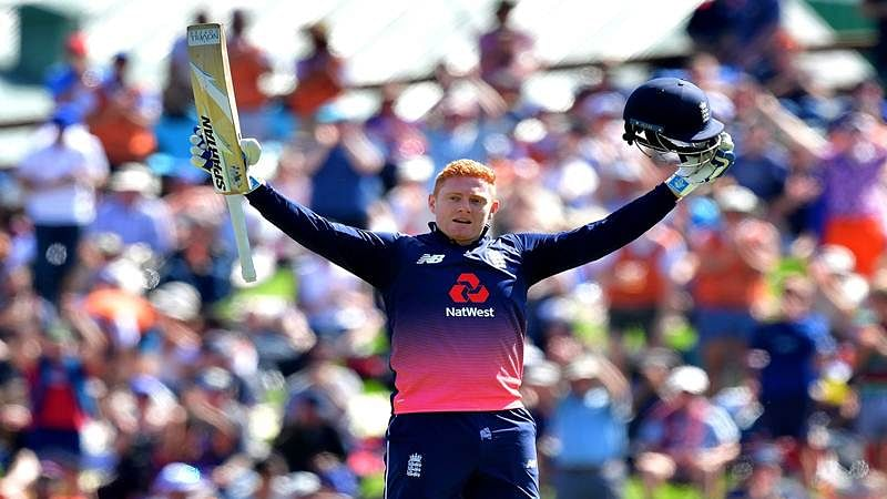 England's Jonny Bairstow celebrates 100 runs during the fourth ODI cricket Test match between New Zealand and England at University Oval in Dunedin on March 7, 2018. / AFP PHOTO / Marty MELVILLE
