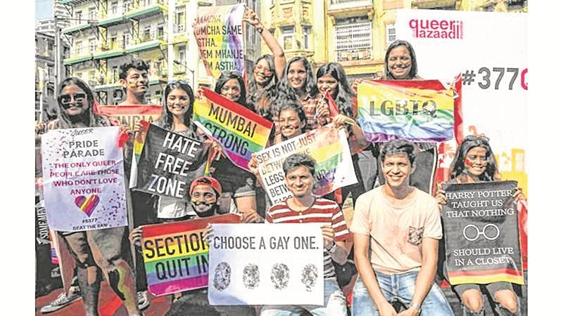 "Mumbai : Thousand of gay, transgender, bisexual, participate at the gay parade ""queer azaadi"" at august kranti maidan to chawpaty,in Mumbai on Saturday. Photo by BL SONI"