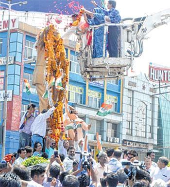 City turns blue on Ambedkar Jayanti