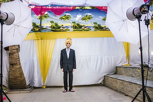 Makeshift photo studio for family portraits at a wedding in Ahmedabad
