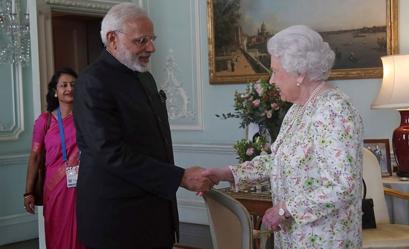 Commonwealth Meeting: PM Narendra Modi arrives at Buckingham Palace