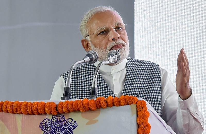 New Delhi: Prime Minister Narendra Modi addressing at the inauguration of the Dr. Ambedkar National Memorial at 26 Alipur Road, Delhi on Friday.PTI Photo/PIB(PTI4_13_2018_000248B)