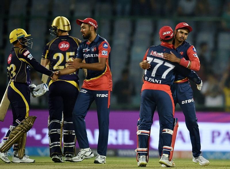 New Delhi: Delhi Daredevils' captain Shreyas Iyer (R) celebrate with team mates after beating Kolkata Knight Riders' during an IPL T20 cricket match at Feroz Shah Kotla in New Delhi, on Friday.  PTI Photo by Manvender Vashist    (PTI4_27_2018_000211B) *** Local Caption ***