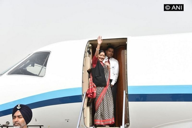 Sushma Swaraj departs for two-nation visit