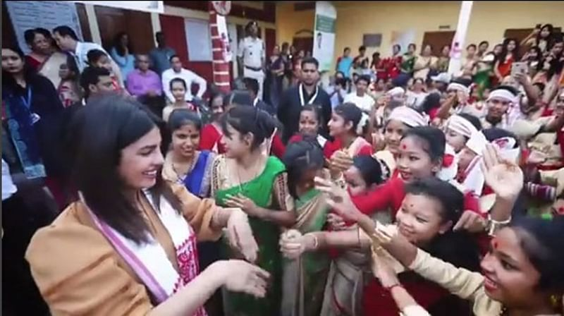 Watch: Priyanka Chopra tries her Bihu dance with students during her visit to Assam