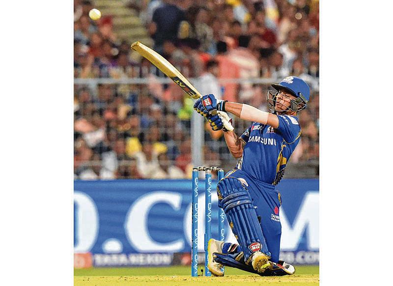 Kolkata: Mumbai Indians' Ishan Kishan plays a shot against Kolkata Knight Riders during an IPL T20 cricket match at Eden Garden in Kolkata on Wednesday. PTI Photo by Ashok Bhaumik (PTI5_9_2018_000242B)