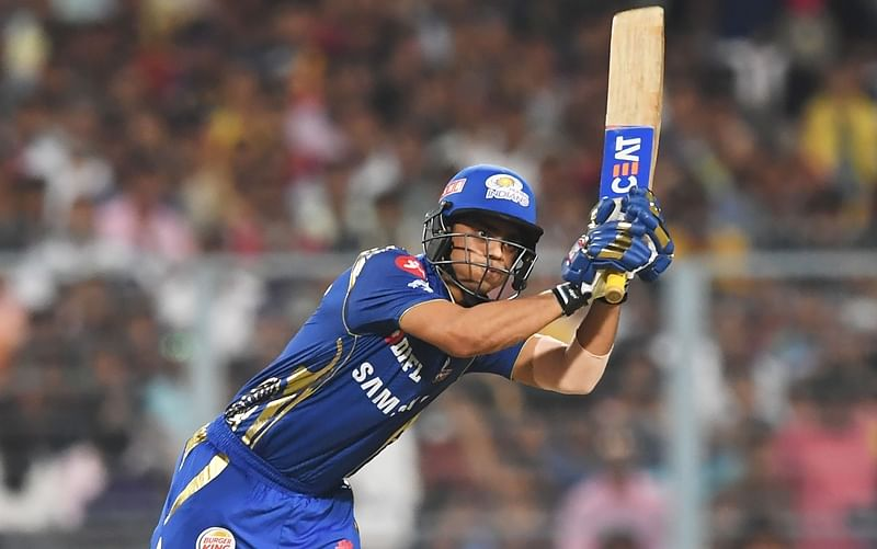 Ishan Kishan during the 2018 IPLmatch against Kolkata Knight Riders at The Eden Gardens. / AFP PHOTO / Dibyangshu SARKAR / GETTYOUT