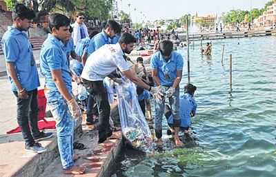 Kshipra cleanliness campaign launchedfrom Ramghat to Narsing Ghat