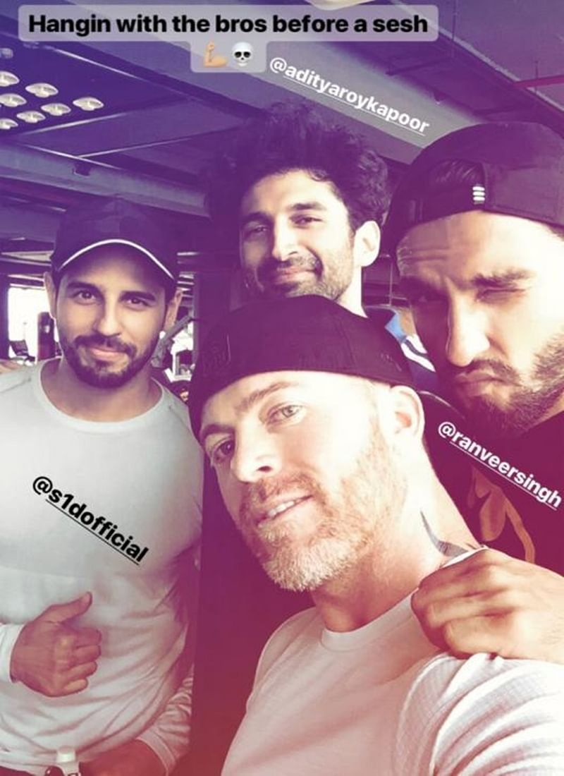 Workout Selfie! Ranveer Singh, Aditya Roy Kapur and Sidharth Malhotra sweat it out together; check out