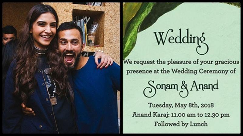See Pics: Sonam Kapoor-Anand Ahuja's elegant wedding invite
