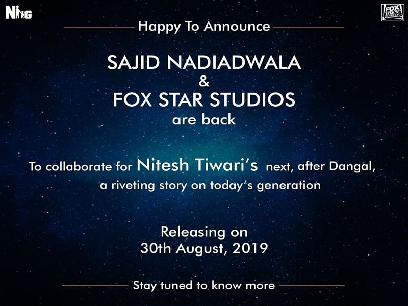 After Dangal, Nitesh Tiwari collaborates with Sajid Nadiadwala and Fox Star Studios for his next
