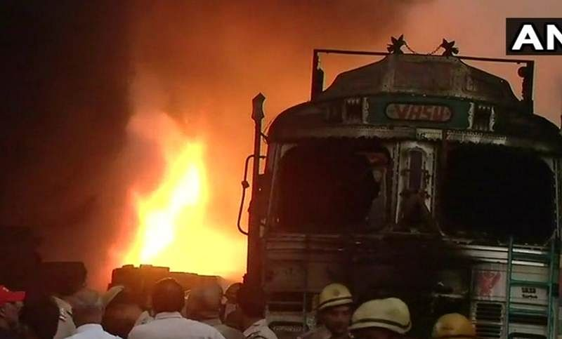 Major Fire at rubber factory in Delhi