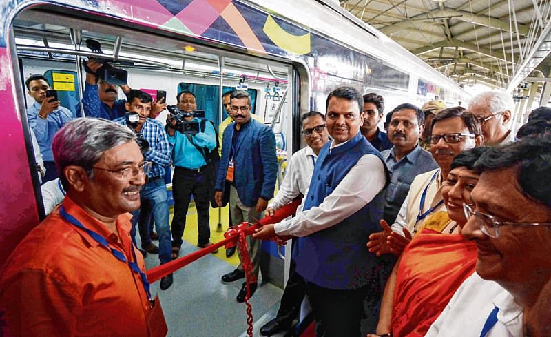 Mumbai : Mumbai Metro one Completes four Successful Year of Seamless Travel Chief Minister Devendra Fadnavis Launches The First ever Metro Mobile Ticketing Service in The Country at Varsova Station . Photo by BL SONI
