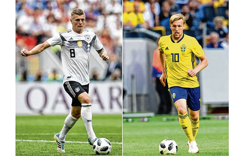 (COMBO) This combination of photos created on June 21, 2018 shows Germany's midfielder Toni Kroos in Moscow on June 17, 2018 (L) and Sweden's midfielder Emil Forsberg in Solna on June 2, 2018. Germany will play Sweden in their Russia 2018 World Cup Group F football match at the Fisht Stadium in Sochi on June 23, 2018. / AFP PHOTO / Patrik STOLLARZ AND Jonathan NACKSTRAND