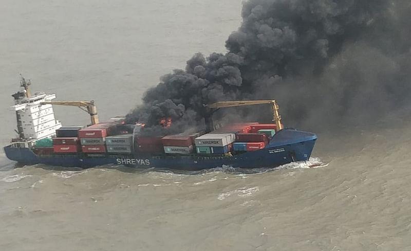 Coast Guard rescues all 22 crew members on-board merchant vessel SSL Kolkata that caught fire