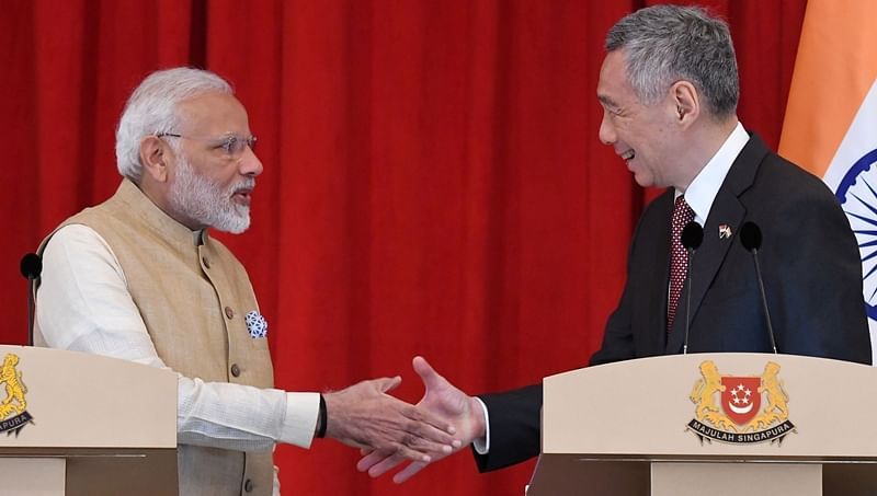Modi in Singapore: PM Gifts Buddhagupta stele to Singapore PM Lee Hsien Loong
