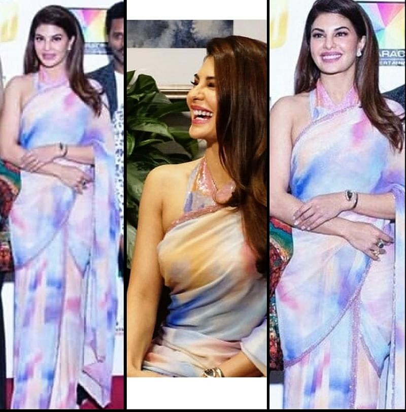 WOW! Jacqueline Fernandez stuns in a saree at the Dabanng Tour press con in the USA