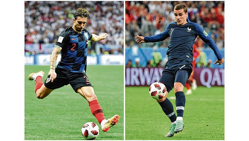 A combination of file pictures shows France's forward Antoine Griezmann (R) in Saint Petersburg on July 10, 2018 and Croatia's defender Sime Vrsaljko in Moscow on July 11, 2018 during the Russia 2018 World Cup football tournament. The two Atletico Madrid teammates will face off with their national teams as France meet Croatia in the final World Cup showpiece in Moscow on July 15, 2018. / AFP PHOTO / Paul ELLIS AND Alexander NEMENOV