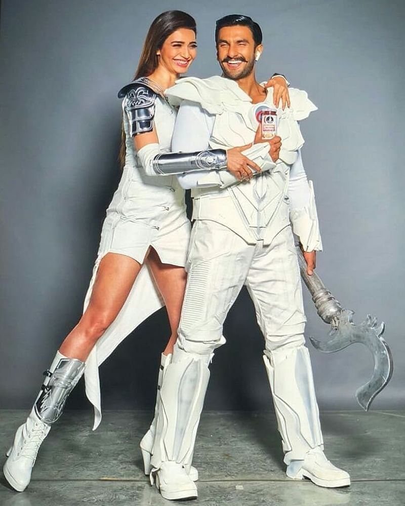 Check out Ranveer Singh and Karishma Tanna's futuristic look for a commercial