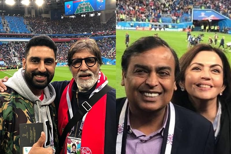 FIFA World Cup 2018: Amitabh Bachchan and Mukesh Ambani watch semi-finals in Russia with their families