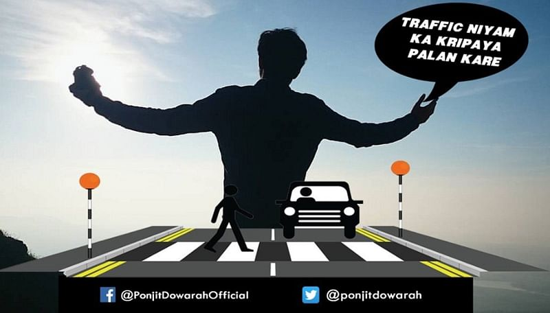 Assam police uses Shah Rukh Khan's 'romantic trick' for road safety; see pic