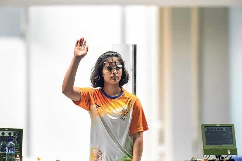 <strong><em>Shooter Manu Bhaker reacts after finishing sixth in the women's 25m Pistol finals.</em></strong>