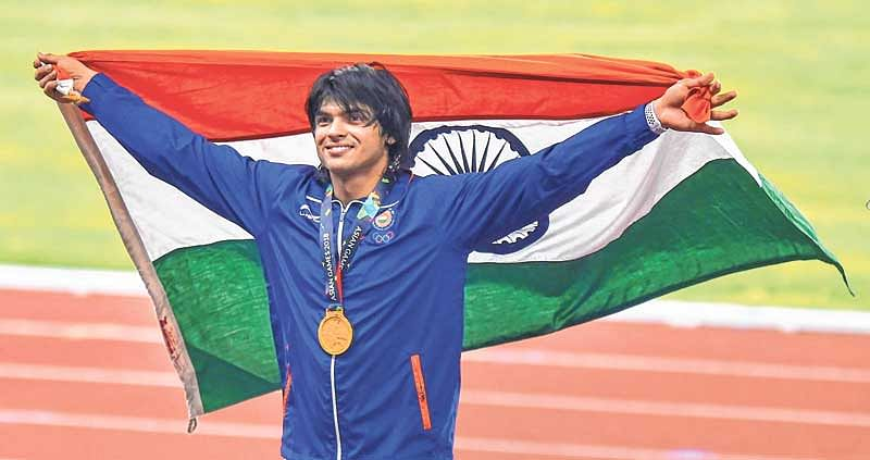 Asian Games  : 20-year-old javelin thrower Neeraj Chopra clinches gold medal; three other athletes win silver
