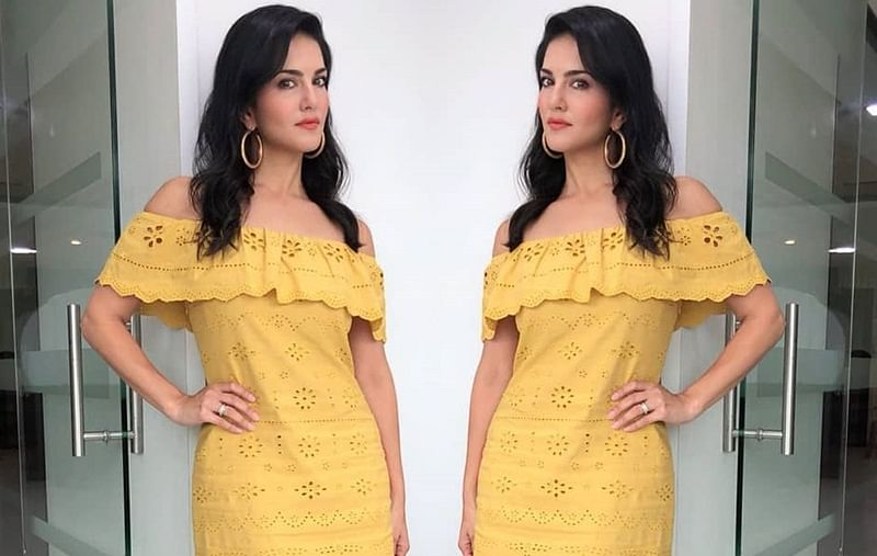 Sunny Leone is a ray of sunshine in this sexy yellow dress; see pic