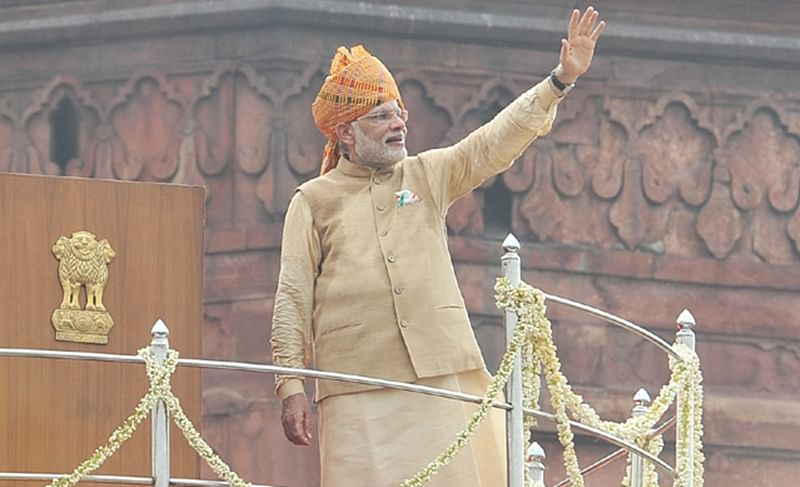 PM Narendra Modi waving to the people after addressing the Nation on the occasion of 69th Independence Day.