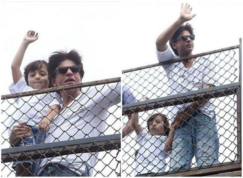 Shah Rukh Khan and AbRam drive fans crazy with their Eid-Al-Adha greeting at Mannat