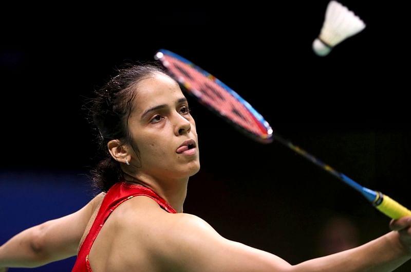 Saina Nehwal plays a shot at the BWF World Championships in Nanjing, China. AP/PTI