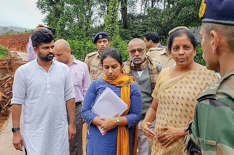 Defence Minister Nirmala Sitharaman visits the flood-affected areas to review situations, in Kodagu. Defence Minister Twitter via PTI