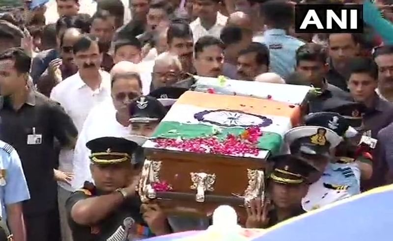 Atal Bihar Vajpayee death: Thousands gather as Vajpayee's funeral procession begins from BJP HQ