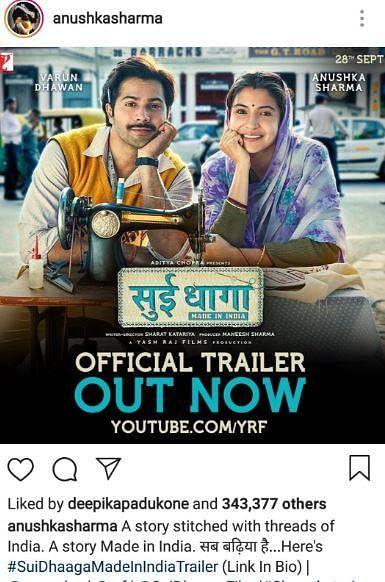 Deepika Padukone's reaction to Anushka Sharma's 'Sui Dhaaga' trailer finally puts the tiff to rest?
