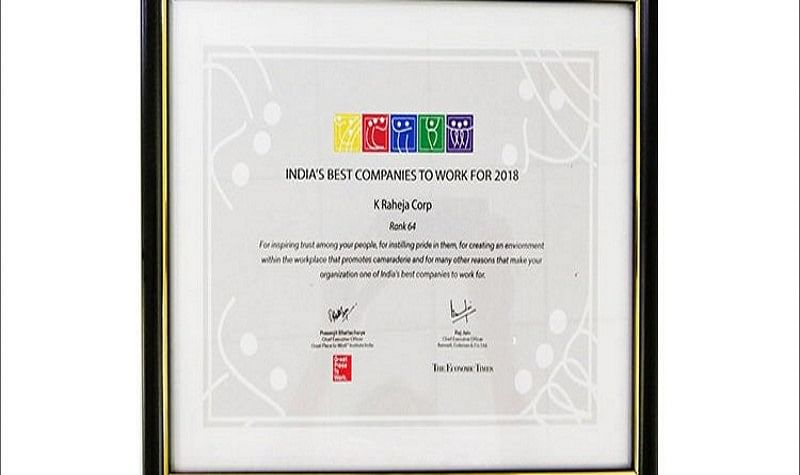 Ranked at 64, third consecutive feature for K Raheja Corp, led by Chandru Raheja, in 'Top 100 India's Best Companies to Work For'