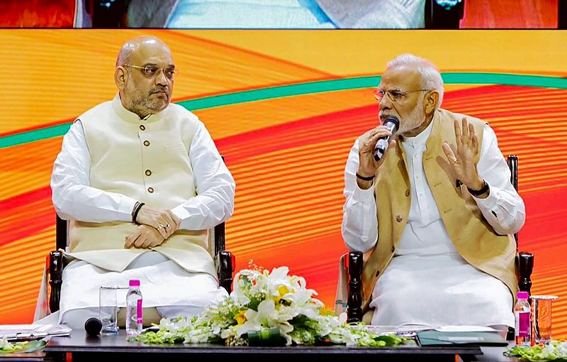New Delhi: Prime Minister Narendra Modi and BJP President Amit Shah during BJP National Executive meeting, in New Delhi, Sunday, Sept 9, 2018. (Twitter Photo via PTI)    (PTI9_9_2018_000146B)