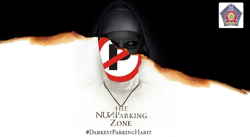 Mumbai police makes meme of 'The Nun' movie poster to create awareness regarding parking