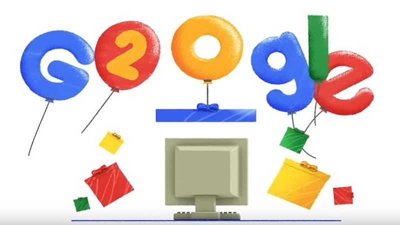 Google celebrates its 20th birthday with special doodle